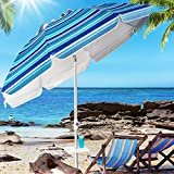 Aoxun Beach Umbrella, 7ft UV 50+ Umbrella with Sand Anchor & Tilt Aluminum Pole, Portable Beach Umbrella with Carry Bag for Beach Patio Garden Outdoor Blue White Stripe【2021 Upgraded Food Plate】