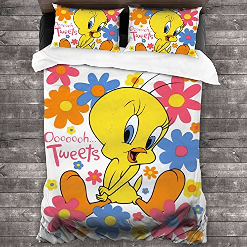 LIK EPOCH Tweety Bird Bedding Set Duvet Cover Bedroom Goods Adult Gift for Boys and Girls 1 Quilt Cover + 2 Pillowcases (No Quilt)