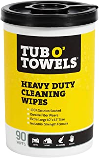 """Tub O Towels TW90 Heavy-Duty 10"""" x 12"""" Size Multi-Surface Cleaning Wipes, 90.."""