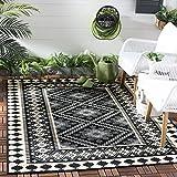 Safavieh Veranda Collection VER099-0421 Indoor/ Outdoor Black and Cream Southwestern Area Rug (4' x 5'7')