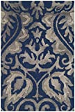 Safavieh Dip Dye Collection DDY511N Handmade Damask Premium Wool & Silk Accent Rug, 2' x 3', Navy / Grey