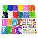 9200+ Rainbow Rubber Bands Refill Set Include: 8400+ Premium Quality Loom Bands in 20 Kinds Unique Colors + 400 S-Clips + 30 Lovely Charms + 6 Crochet Hooks + 2 Y Loom, No Loom Board Include