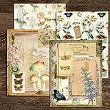 BLOUR Libros Antiguos Flores Plantas Material Pegatinas Basura Diario decoración de Fondo DIY Scrapbooking Seta Mariposa Pegatina Artesanal
