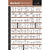 BARBELL WORKOUT EXERCISE POSTER LAMINATED - Home Gym Weight Lifting Chart - Build Muscle Tone & Tighten - Strength Training Routine - Body Building Guide w/ Free Weights & Resistance (18' x 27')