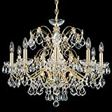 Schonbek 1709-23 Century 9-Light Chandelier in Etruscan Gold with Clear Heritage Crystal