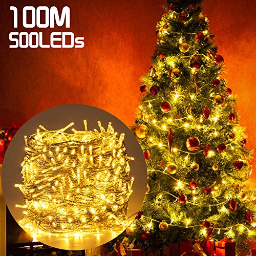 500LED 100M Guirnald Luces San Valentín, Ulinek Luces Decoracion Impermeable Función de Memoria y 8 Modos de Blanca Cálida Cadena Luces Decorativa para Habitación, Jardín, Interior, Bodas, Fiesta