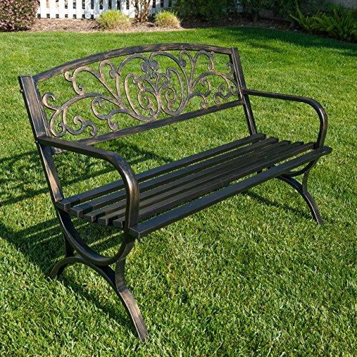 BELLEZE 50' Garden Backyard Bench, Metal, Bronze