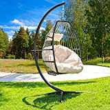 Barton Luxury Wicker Hanging Chair Egg Chair Patio Egg Chair Soft Deep Fluffy Cushion Relaxing Large Basket Porch Lounge, Cream