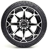 12' Vortex Machined Black Golf Cart Wheels and Low Profile Tires Combo...