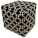 Majestic Home Goods Links Indoor/Outdoor Bean Bag Ottoman Pouf Cube, 17' x 17' x 17' (Black)