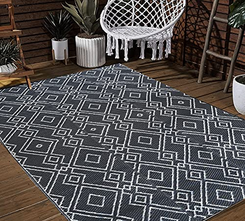 TIDYON 4 x 6 FT Outdoor Rugs for Patios Clearance Plastic Straw...