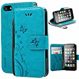 KUAWEI Coque iPhone 5 Se 5S Etui Cuir iPhone 5 Se 5S Cover Flip Cover avec...