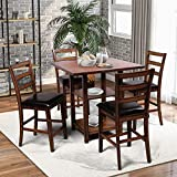 Merax 5 Piece Dining Table Set Wood Counter Height Dining Set Square Kitchen Table with 2-Tier Storage Shelving and 4 Padded Chairs, Antique Brown