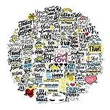 BLOUR 50 Uds Nueva Pegatina con Letras Inspiradoras en inglés para portátil al Aire Libre, Caja con Ruedas, Maleta, Casco, Libro, Cuaderno Impermeable DIY
