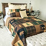 Donna Sharp Twin Bedding Set - 2 Piece - Brown Bear Cabin Lodge Quilt Set with Twin Quilt and One Standard Pillow Sham - Machine Washable