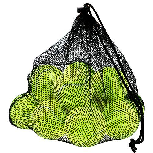 Philonext trainingballen | Net met 12 ballen | Voor trainingen, machine oefeningen, hondenspeelgoed | Van hoogwaardig polyestervezel en rubber | Zeer slijtvast | Perfecte en evenwichtige stuit | Drukloos