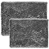 Sweet Home Collection Bath Set 2 Piece Butter Chenille Noodle Soft Luxurious Rugs Absorbent Non Slip Latex Back Microfiber Bathroom Mat, ((1) 17' x 24' & (1) 20' x 32' Silver