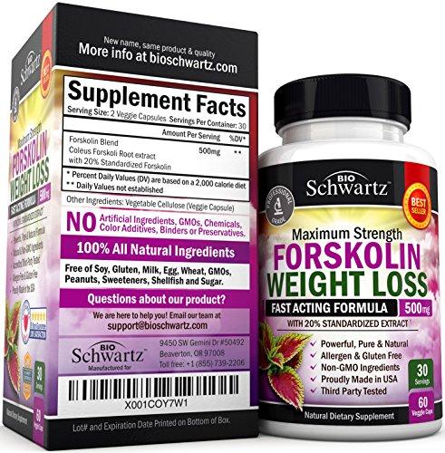 Forskolin Extract for Weight Loss. Pure Forskolin Diet Pills & Belly Buster Supplement. Premium Appetite Suppressant, Metabolism Booster, Carb Blocker & Fat Burner for Women and Men Coleus Forskohlii 5