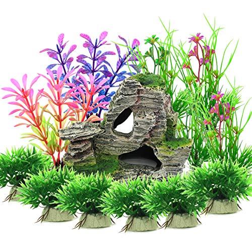 Vibury Plantas Artificiales Acuario, 13 Piezas Plantas Verdes de...