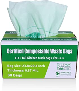 Primode 100% Compostable Trash Bags 13 Gallon | 30 Count Tall Kitchen Compost Bags, Food..