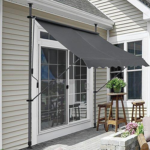 Pro-Tec Klemmmarkise - Grau - 150 x 120 x 200-300cm - Markise Balkonmarkise Sonnenschutz - ohne Bohren