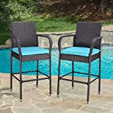 HTTH 2 Pieces Outdoor Patio Bar Stools All-Weather Wicker Outdoor Furniture Chair, Armrest Bar Chairs Footrest Barstools (Turquoise)