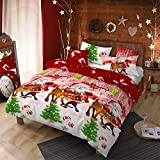 4Pcs Merry Christmas Santa Claus Deer Duvet Cover Set Queen (90x90 inches),Reindeer Pinetree...