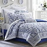 Laura Ashley Home | Charlotte Collection | Luxury Ultra Soft Comforter, All Season Premium Bedding Set, Stylish Delicate Design for Home Décor, Queen, China Blue