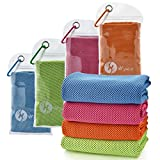 U-pick 4 Packs Cooling Towel (40'x 12'), Ice Towel, Microfiber Towel, Soft Breathable Chilly Towel for Yoga, Sport, Gym, Workout, Camping, Fitness, Running, Workout & More Activities
