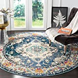 Safavieh Monaco Collection MNC243N Boho Chic Medallion Distressed Non-Shedding Stain Resistant Living Room Bedroom Area Rug, 3' x 3' Round, Navy / Light Blue