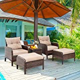 Vongrasig 5 Piece Wicker Patio Furniture Set, PE Wicker Rattan Small Patio Set Porch Furniture, Cushioned Patio Chairs Set of 2 w/Ottoman&Table, Outdoor Lounge Chair Chat Conversation Set, Dark Brown