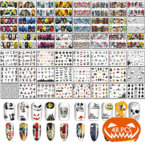 TailaiMei 48 Sheets Halloween Nail Art Stickers - Water Transfer DIY Nail Decals Stencil for Halloween Party