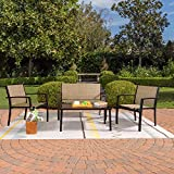 Greesum 4 Pieces Patio Furniture Set, Outdoor Conversation Sets for Patio, Lawn, Garden, Poolside with A Glass Coffee Table, Beige