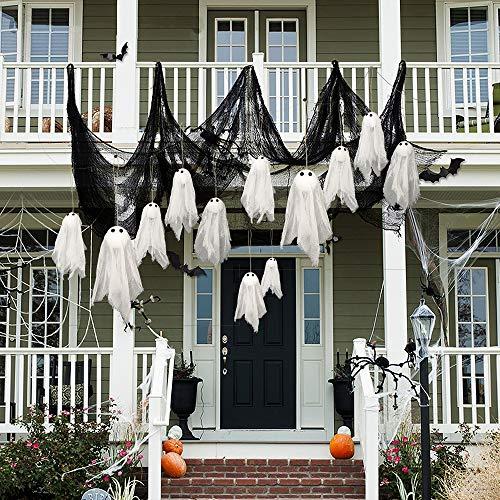 Skystuff - Cortina de Halloween para decoración de Halloween (12 unidades), color blanco