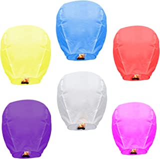 Sky Lanterns Multicolour 6 Pack Chinese Paper Lanterns Environmentally Friendly Lanterns..