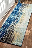 nuLOOM Waterfall Vintage Abstract Runner Rug, 2' 8' x 8', Blue
