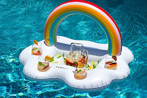 FUNBOY Giant Inflatable Rainbow Cloud Drink Holder, Luxury Floating Bar Accessory for Pool Parties and Entertainment