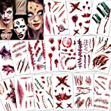 Konsait 118pcs Halloween Tatuajes Temporales, Halloween Zombie Horror Cicatrices...