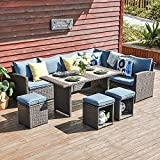JOIVI Patio Furniture Set, 7 Pieces PE Rattan Wicker Dining Sofa Set, Outdoor Patio Furniture with Ottoman and Aluminium Table, Navy
