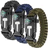 Paracord Bracelet Kit lot de 3 pour la survie en plein air, Anastasia 9 pouces Survival Gear Kit avec boussole intégrée, allume-feu, urgence couteau & Whistle.