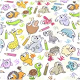VmG-Store (9,99-12,89€/m2 Tessuto di Cotone al Metro Cucito I Tessuto per Bambini Tessuto 155 cm di Larghezza, Ba009 - Peluche a Forma di Animali, 100 x 150 cm