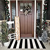Seavish Indoor Outdoor Doormats, 23.6' x 51.2' Black and White Ivory Striped Rug Handmade Woven Runner Farmhouse Rug, Machine Washable Small Carpet Welcome Mat Layering Rug Front Porch Mat Rug