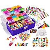 Loopa Rainbow Rubber Bands Kit , 10,000+ Colorful Bands Refill Set for Kids, DIY Loom Bracelets Making Set with Beads & Endless Accessories - Box Case Included