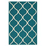 Maples Rugs Rebecca Contemporary Kitchen Rugs Non Skid Accent Area Carpet [Made in USA], 2'6 x 3'10, Teal/Sand