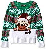 Blizzard Bay Girls Ugly Chrismas Sweater, Green/White/Pug Dog, 5