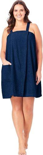 Dreams & Co. Women's Plus Size Terry Towel Wrap - 14/16, Blue Sapphire