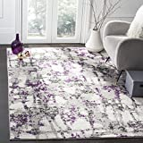 Safavieh Skyler Collection SKY193R Modern Abstract Non-Shedding Living Room Bedroom Area Rug, 5'1' x 7'6', Grey / Purple