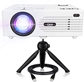 """QKK 5000Lux Mini Projector for Outdoor Movies [Tripod Included], 200"""" Display Full.."""