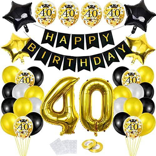 Cumpleaños Globos 40, Decoración de cumpleaños 40 en Oro Negro, Feliz cumpleaños Decoración Globos 40 Años, 40 Globos de Confeti y Globos de Aluminio para chico y hombre