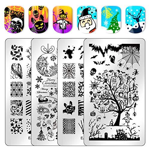 Ejiubas Christmas Nail Stamping Kit Stamping Plates Halloween Nail Art Plates Manicure Nail Stamping Plate Nail Stamping Templates Double Sided 2 Counts 4 Sides